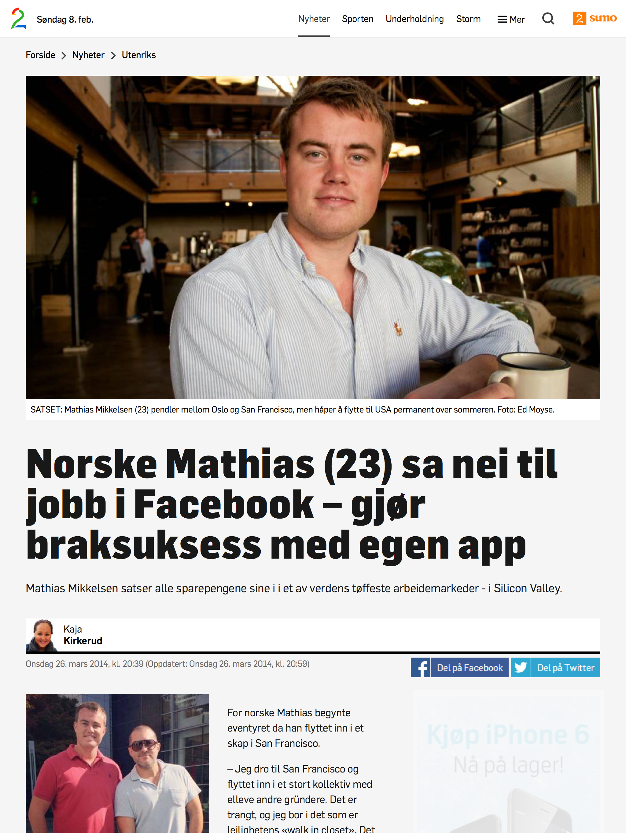Mathias Mikkelsen TV 2 facebook
